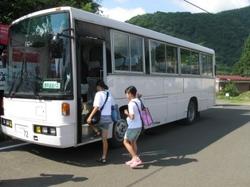 仙台ハイランドの送迎バスに乗る